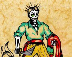 Old School Tattoo Drum Art EL TAMBOR Loteria by illustratedink