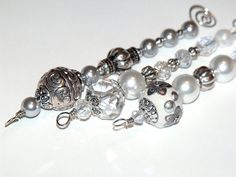 White Christmas Icicle Ornaments  beaded white by CJKingOriginals, $14.00