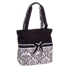 Belvah Quilted Black  amp  White Damask 3 Piece Baby Diaper Bag w Changing  Pad NWT 2220ad834f