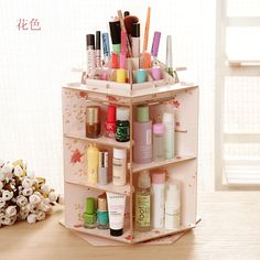 Hot Sale Cute Wooden Office 360 rotate Desktop Storage Boxes Makeup Organizer Storage Box