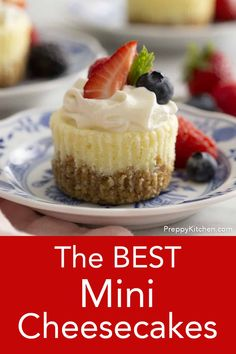 These delicious mini cheesecakes with a crunchy graham cracker pecan crust bake up in no time and are almost too easy to make! You can top them with whipped cream, berries, pie filling, melted chocolate, chopped nuts or serve plain! Mini Cheesecake Recipes, Cupcake Recipes, Baking Recipes, Dessert Recipes, Mini Cheesecake Bites, Strawberry Cheesecake Cupcakes, Plain Cheesecake, Oreo Cheesecake, Kraft Recipes
