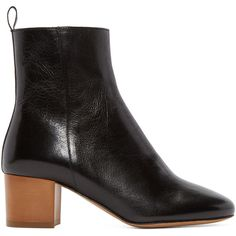 Isabel Marant Black Leather Deyis Ankle Boots ($410) ❤ liked on Polyvore featuring shoes, boots, ankle booties, black, black bootie, ankle boots, block heel booties, black booties and leather booties