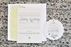 Letterpress baby shower invitation / Peace, Love & Letterpress