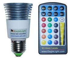 Color Changing LED Light Bulb and Remote (60 Degree)