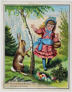 Victorian Trade Card Girl Easter Bunny Egg Hunt White Sewing Machine Co