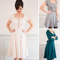 Inspired by the silhouettes of the 40s and 50s, here is another gorgeous dress to add to your collection. The dress has a gored skirt, made up of panels, a waist seam and a button fastening bodice. There is also … Continue reading →