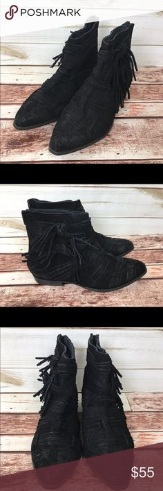 New Free People Distressed Suede Black Bootie Free People Black Suede Distressed Fringe Ankle Booties. Size 39 and 40 available .New without box. 1 inch heel. Free People Shoes Ankle Boots & Booties