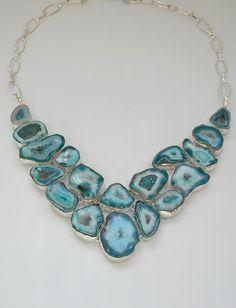Ocean Blue Solar Quartz Gemstones Necklace