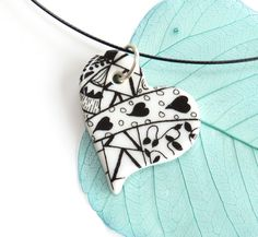 Heart pendant  Valentines gift for her porcelain by KilnFiredArt