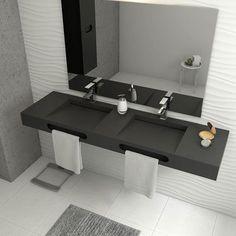 Mueble de lavabo ZEUS Ref. 17954034 - Leroy Merlin Grey Bathroom Tiles, Modern Bathroom, Floating Bathroom Sink, Bathroom Design Luxury, Home Interior Design, 3 Storey House Design, Restroom Design, Modern Shower, Bathroom Inspiration