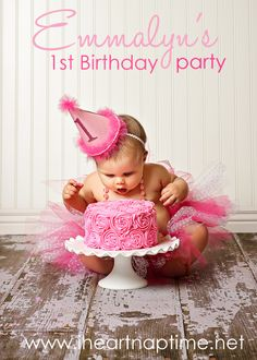 1st birthday decorating ideas: flower swirl icing & smash raspberries for natural pink coloring in baby's cake.