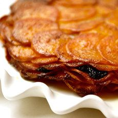 Layers of Sweet Potatoes and Port Wine with butter and thinly sliced prunes