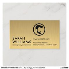 Barber Professional Gold Metallic Business Card