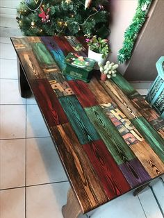 painted christmas coffee table