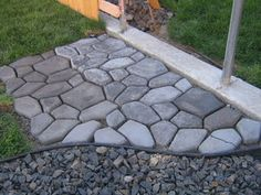Diy cobblestone....get form from Lowes, add concrete...someone added, to put soil and  grass seeds in grooves..I have seen this and it is gorgeous