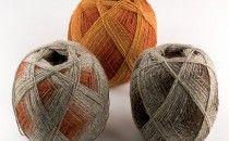 From Denmark, Kauni Yarn is a 100% shetland-type sport weight wool. The Effektgarn comes in beautiful striping colors.