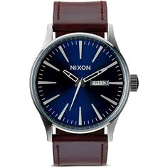 Nixon The Sentry Leather Strap Watch, 42mm (1,150 GTQ) ❤ liked on Polyvore featuring mens, men's jewelry and men's watches