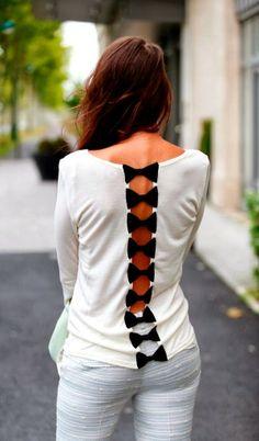 Women's Fashion Cute white shirt with small black back bows fashion