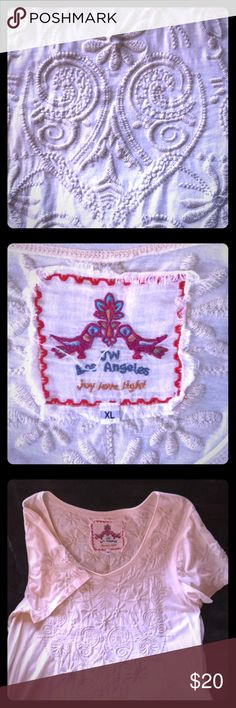Johnny Was Embroidered Tee-Gently Worn Johnny Was Embroidered Tee-Gently Worn - Only Worn Once! Embroidery on front, back & sleeves. Short sleeves. Roomy fit! Johnny Was Tops Tees - Short Sleeve
