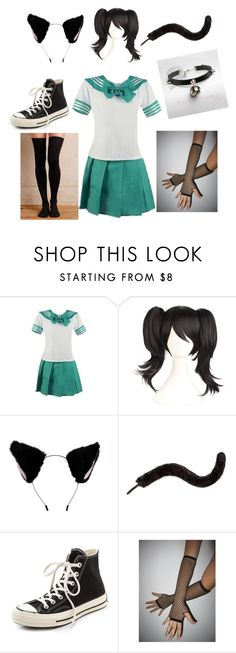 """""""Schoolgirl Neko"""" by emo-neko27 ❤ liked on Polyvore featuring Monsoon, Converse and Hansel from Basel"""