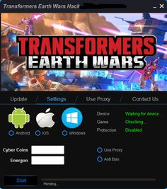 Online Transformers Earth Wars Hack for iOS, Android. Official tool Transformers Earth Wars Hack Online working also on Windows and Mac.