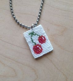 HappyTag 15 Red Cherries on Ball Chain by GoodBeadDeeds on Etsy