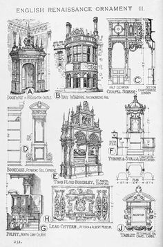 Architectural Drawings, Models, Photos, etc… English Renaissance ornaments // A History of Architecture on the Comparative Method by Sir Banister Fletcher Architecture Antique, Detail Architecture, Art Et Architecture, Classic Architecture, Historical Architecture, English Architecture, Architectural Elements, History, Link