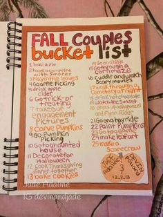 fall bucket list Our bucket list for Fall 2014 that I made for Devin's birthday scrapbook/smashbook/book of awesomeness that I'm making I'm excited to do all of this stuff together! Herbst Bucket List, Autumn Bucket List, Fun Bucket, Cute Date Ideas, Winter Date Ideas, Autumn Ideas, Fall Dates, Do It Yourself Inspiration, Birthday Scrapbook