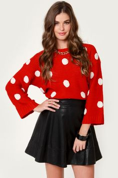 Whether you play it sweet or add some edge, the Sweeter Dotter Red Polka Dot Sweater is ready to style! Cozy knit sweater with polka dots and a cropped, box-cut. Holiday Wear, Holiday Fashion, Christmas Party Outfits, Polka Dot Sweater, Ugly Sweater Party, Cozy Sweaters, Cropped Sweater, Fashion Outfits, Fashion Trends