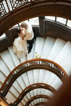 Brides and grooms posing on the stairs ~ we ♥ this! moncheribridals.com