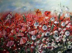 Poppy Meadow - oil painting By Monica Blatton