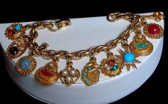 Vintage Victorian Revival Faux Gemstone Medallion 11 Charms Double Link Bracelet #UnsignedBeauty #VictorianGemstoneMedallionCharmBracelet