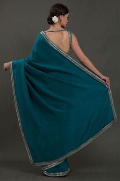 Oceanside Blue Hand Embroidered Gota Patti Saree One Shoulder, Shoulder Dress, Cashmere Shawl, Gota Patti Saree, Dresses, Blue, Fashion, Vestidos, Moda