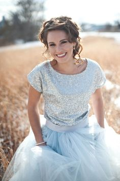 Glitter & Tulle - Winter Wedding Inspiration,Winter Wedding Inspiration Shoot by Simply Fabulous Events and Design. Skirt: Handmade / Sequin Top: Target /
