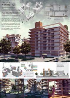 HABITAÇÃO DE INTERESSE SOCIAL  Architecture. presentation board |  project: arq. Caroline Coninck/ arq. Debora Bork / arq. Djeferson Borck/ arq. Vanessa Wilbert |  render/ presentation board: Arq. Caroline Coninck