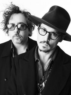 "Tim Burton and Johnny Depp. ""Visions are worth fighting for. Why spend you life making someone else's dreams?"" (Burton). . . ""I pretty much try to stay in a constant state of confusion just because of the expression it leaves on my face."" (Depp) A.K.A Best buds!"