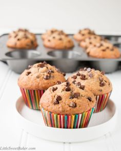 Moist, flavorful and not too sweet. These banana chocolate chip muffins are perfect for breakfast or as a snack.
