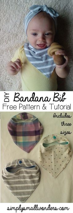 Baby Bandana Bib Free Pattern and Tutorial - Simply Small Wonders Bandana-Bib-Front Baby Sewing Projects, Sewing For Kids, Sewing Hacks, Sewing Tutorials, Sewing Crafts, Sewing Patterns, Sewing Art, Sewing Tips, Sewing Ideas
