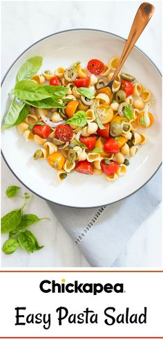 Healthy Chickapea Pasta makes this easy, budget-friendly salad perfect for a quick, weeknight meal. #chickapeapasta #chickpeapasta #lentilpasta #healthypasta #pastasalad #organic #nonGMO