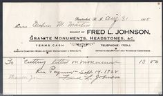 1928 Pawtucket, R.I. Company Bill Head from Fred L. Johnson Granite Monuments