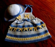 Baby Girl Crochet Dress Halter Top with Floppy Brim Hat  18 to 24mo PDF Pattern