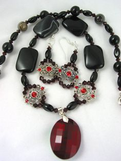 Black Agate with Siam Swarovski and Ruby by JazzitUpwithDesigns, $55.00