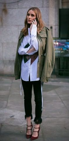 street style. parka. fall outfit. olivia palermo. #parkaoutfit