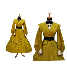 vintage chartreuse victorian wool dress #costume