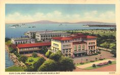 Colorized postcard of the Army and Navy Club in Manila. The Elks club is in the foreground with the red roof. Beyond is a view of Manila Bay and Bataan.