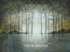 gray landscape abstract lagoon trees and tumbleweed Long misty made to order on Etsy, $250.00
