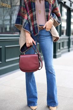 Flare Jeans, Red Satchel, Poncho, Nude Heels