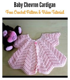 Star Shaped Baby Chevron Cardigan Free Crochet Pattern and Video Tutorial