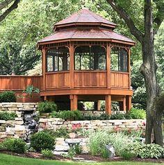 A deck with a gazebo. (backyard gazebo with firepit) - Modern Enclosed Gazebo, Screened Gazebo, Hot Tub Gazebo, Backyard Gazebo, Garden Gazebo, Fire Pit Backyard, Pergola Patio, Pergola Plans, Pergola Kits