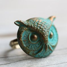 Owl Ring  Verdigris Bird with Antique Gold by SilkPurseSowsEar, £12.00